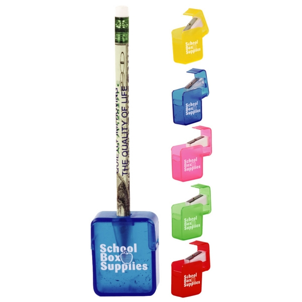Catalog 5-7 Day Production - Square Pencil Sharpener With A Unique Flip Top Design Photo
