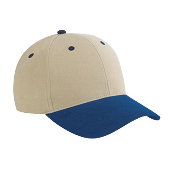 Two Tone Six Panel Low Profile Pro Style Cap In Brushed Cotton Twill. Blank Photo
