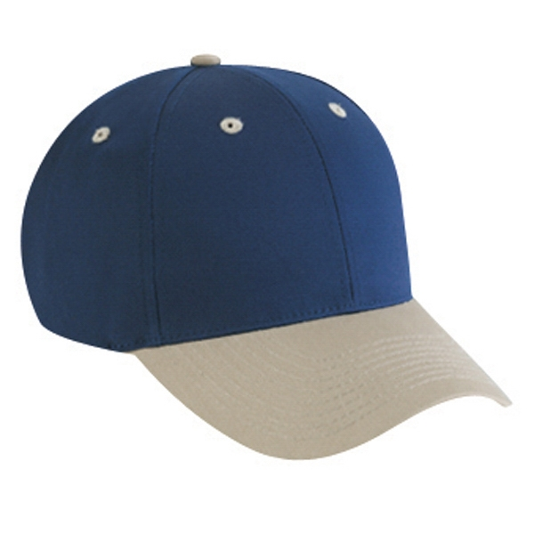 Two Tone Six Panel Low Profile Cotton Twill Pro Style Cap With Low Fitting. Blank Photo