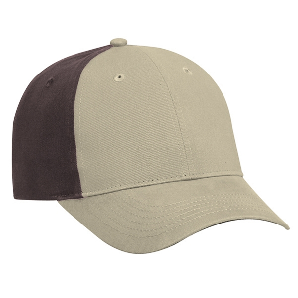 Two Tone Brushed Cotton Twill Pro Style Cap With Adjustable Hook And Loop. Blank Photo