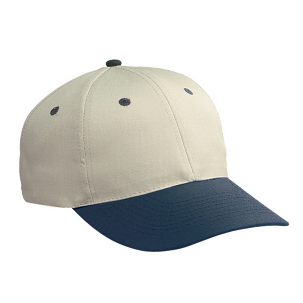 Two Tone, Low Profile Six Panel Cotton Twill Pro Style Cap With Plastic Snap. Blank Photo