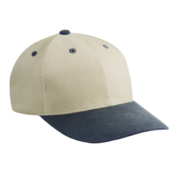 Low Fitting, Two Tone Brushed Bull Denim Pro-style Cap With Six Panels. Blank Photo