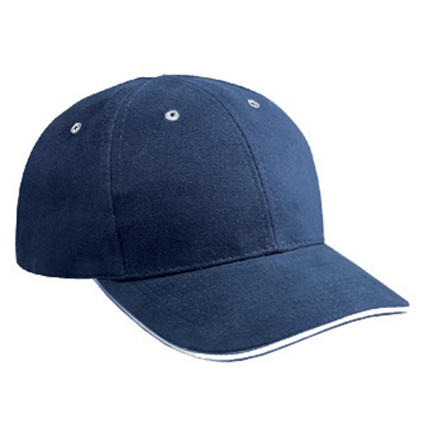 Low Fitting Six Panel Brushed Bull Denim Low Profile Pro Style Cap. Blank Photo