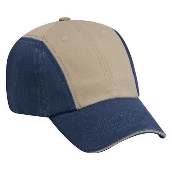 Two Tone Twelve Panel Superior Garment Washed Cotton Twill Pro Style Cap. Blank Photo