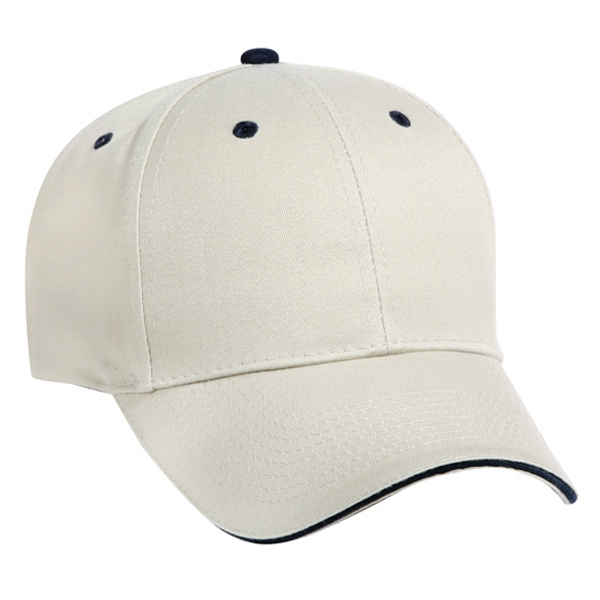 Solid Color Twill Low-fitting Pro Style Cap With Sandwich Visor. Blank Photo