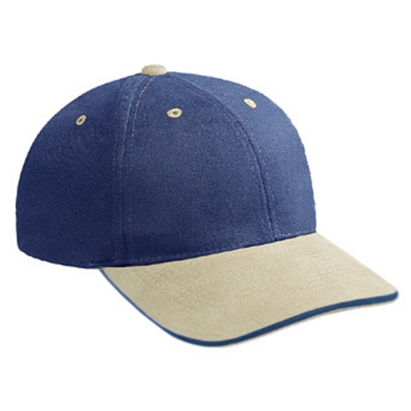 Low-fitting, Two Tone, Structured, Six Panel Brushed Bull Denim Pro Style Cap. Blank Photo