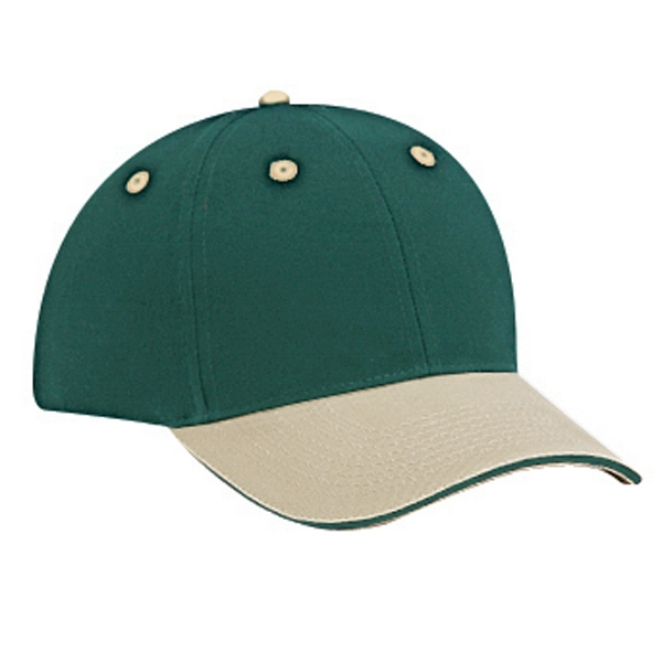 Brushed Cotton Twill Sandwich Visor Pro Style Two Tone Cap. Blank Photo