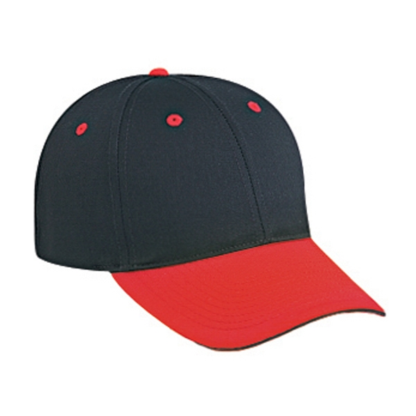Structured, Two Tone Six Panel Pro Style Cap With Sandwich Visor. Blank Photo