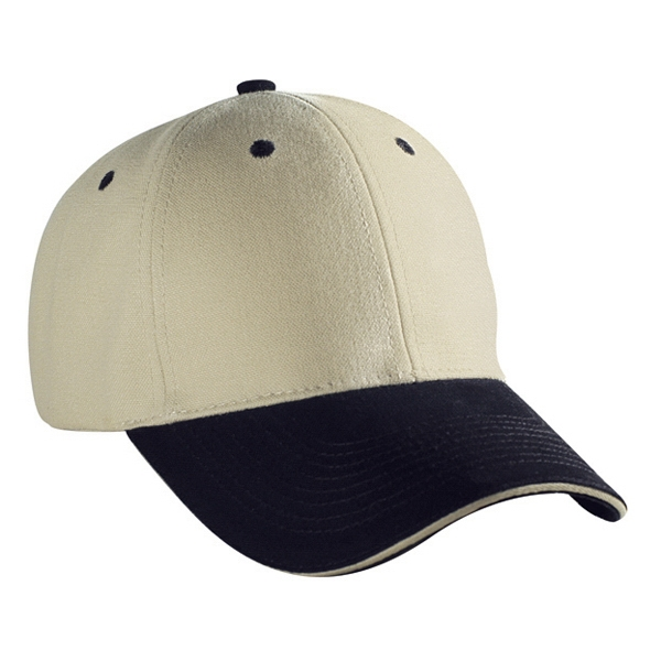 Structured, Two Tone Six Panel Brushed Cotton Canvas Pro Style Cap. Blank Photo