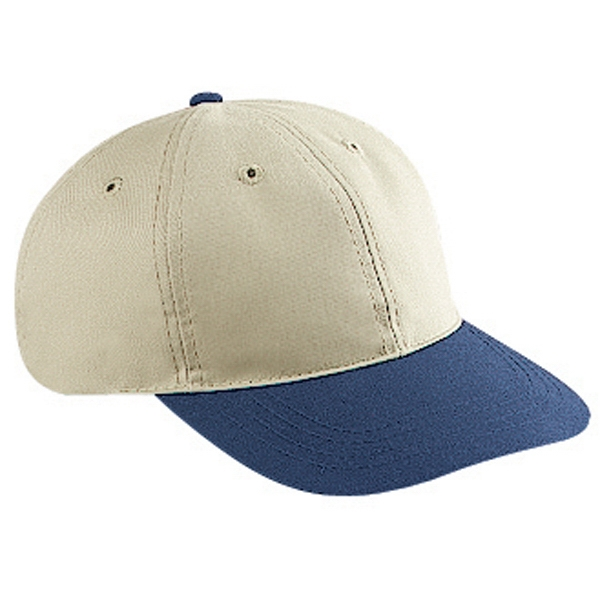 Two Tone Six Panel Brushed Cotton Twill Pro Style Cap With Soft Visor. Blank Photo