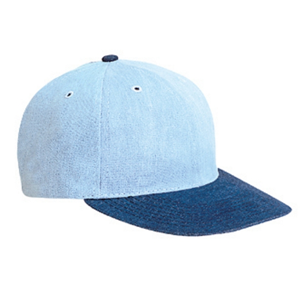 Low Fitting, Two Tone Brushed Denim Polo Pro Style Cap With Plastic Buckle. Blank Photo