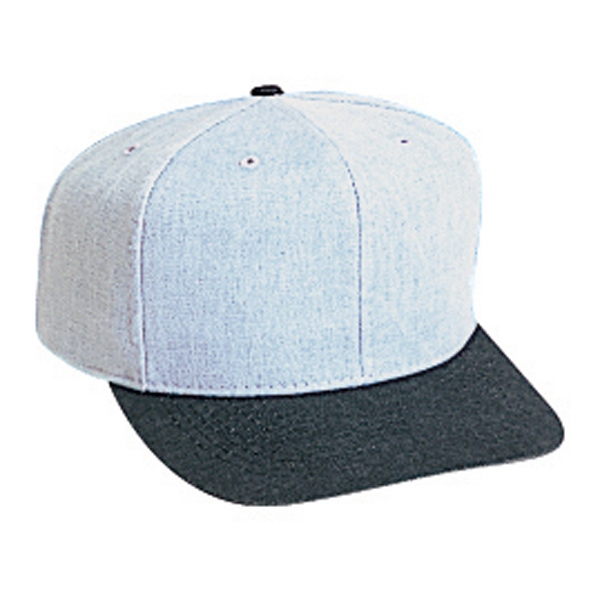 Brushed Two Tone Pro Style 100% Cotton Denim Six Panel Cap. Blank Photo