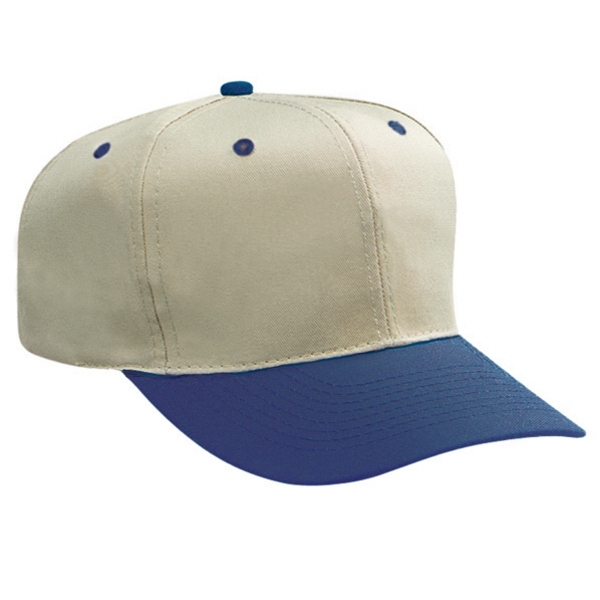 Two Tone Pro Style Cotton Twill Six Panel Cap With Plastic Snap. Blank Photo