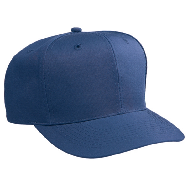 Six Panel, Structured Firm Front Panel Pro Style Cap With Plastic Snap. Blank Photo