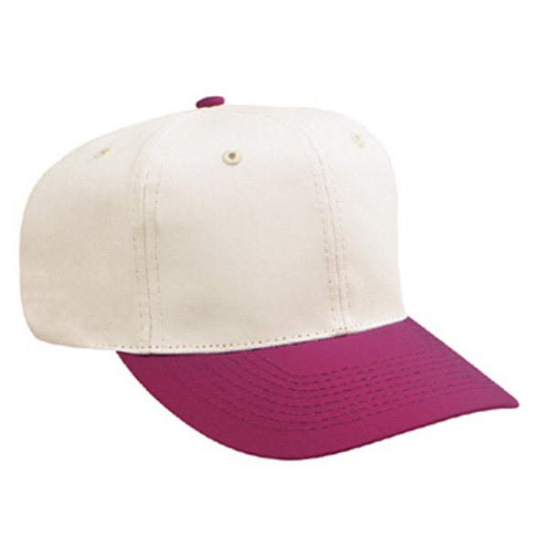 Two Tone Natural Pro Style Cotton Twill Six Panel Cap. Blank Photo