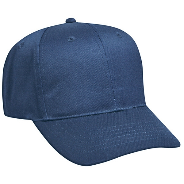 Six Panel Pro Style Cap With Adjustable Hook And Loop, 100% Cotton Twill. Blank Photo