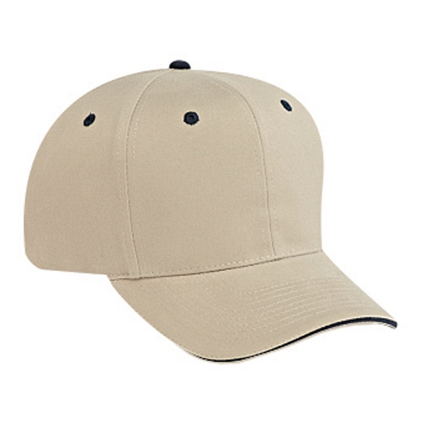 Structured Six Panel Sandwich Visor Pro Style Cap With Firm Front Panel. Blank Photo
