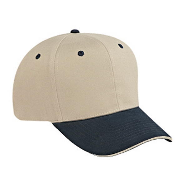 Two Tone Structured Six Panel Sandwich Visor Pro Style Cap. Blank Photo