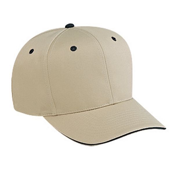 Structured, Solid Color, Six Panel Cotton Twill Pro Style Cap. Blank Photo