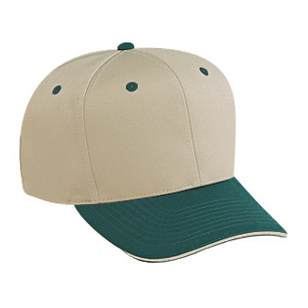 Two Tone Cotton Twill Sandwich Visor Pro Style Cap With Six Panels. Blank Photo