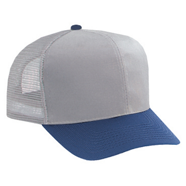 Two Tone Structured Pro Style Cotton Twill Mesh Back Cap. Blank Photo