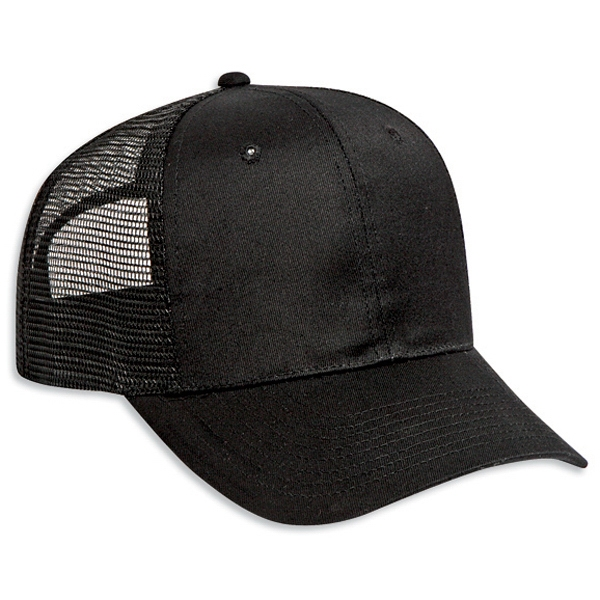 Structured Cotton Twill Pro Style Cap With Polyester Mesh Back. Blank Photo
