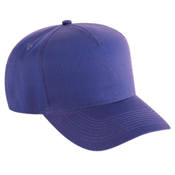 Five Panel Pro Style Cotton Twill Cap With Adjustable Hook And Loop. Blank Photo