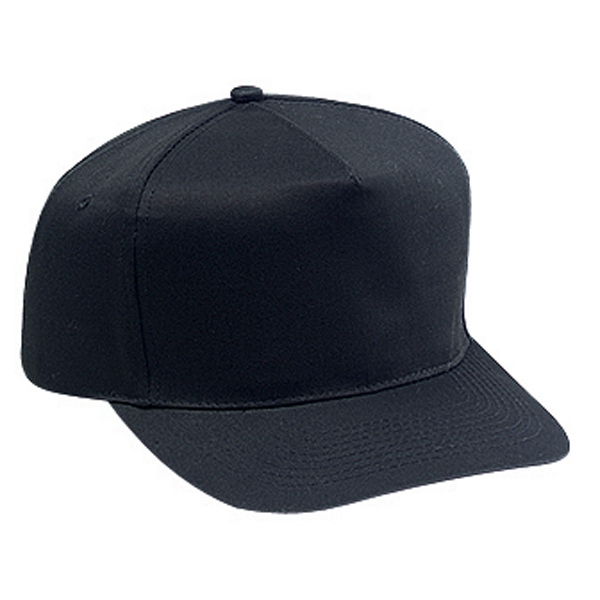 Structured Firm Front Panel Pro Style Cap With Plastic Snap And Five Panels. Blank Photo