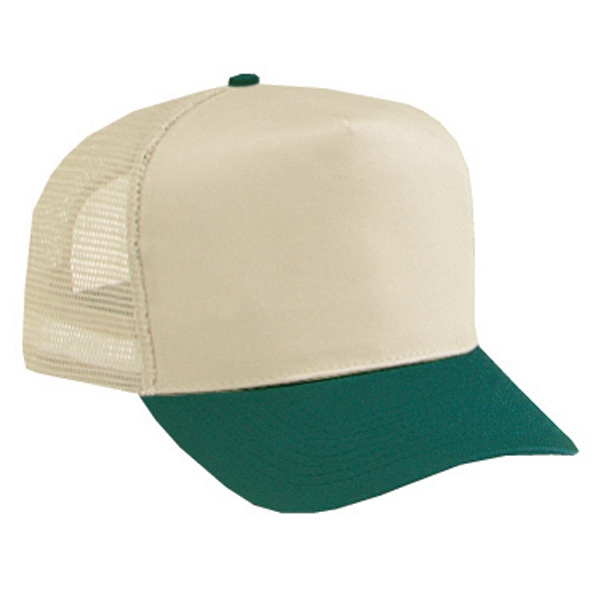 Two Tone Structured Pro Style Cotton Twill Five Panel Mesh Back Cap. Blank Photo