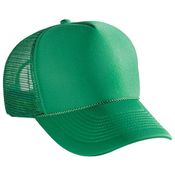 Five Panel, Solid Color Pro Style Cap With Mesh Back With Lining. Blank Photo