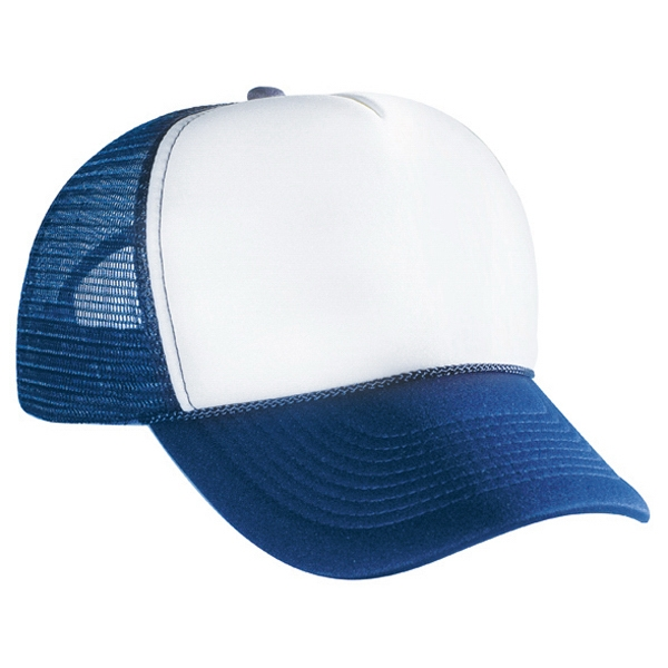 Two Tone Polyester Foam Front Pro Style Mesh Five Panel Back Cap. Blank Photo