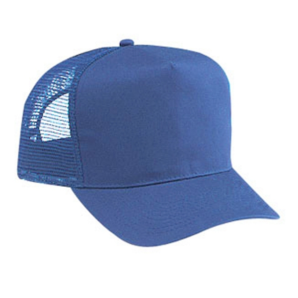 Pro Style Five Panel Mesh Back Cap With Cotton Twill Front And Plastic Snap. Blank Photo