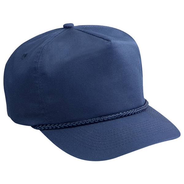 Solid Color Golf Style Cap With Buckram Flap And Plastic Snap. Blank Photo