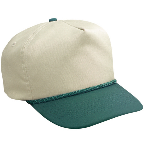 Two Tone Cotton Twill Low Crown Golf Style Cap With Plastic Snap. Blank Photo