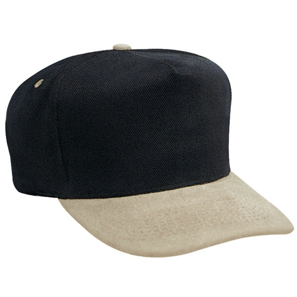 Brushed Bull Denim Two-tone Golf Style Cap With Firm Front Panel. Blank Photo