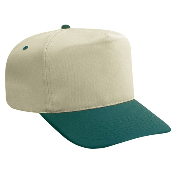 Two Tone Cotton Twill High Crown Golf Style Cap. Blank Photo