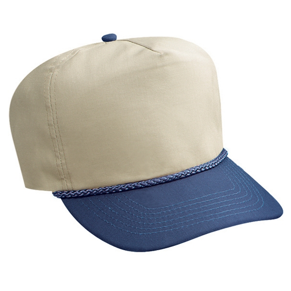 Two Tone Poplin Golf Style Cap With Sliding Zipper. Blank Photo