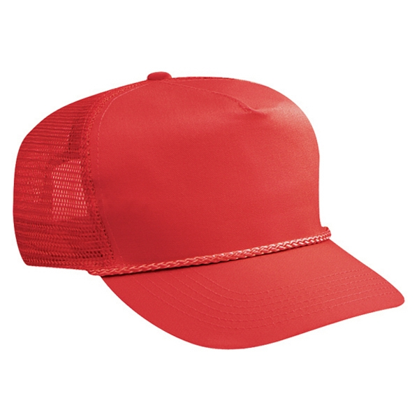 Structured, Solid Color Cotton Twill Golf Style Cap With Mesh Back. Blank Photo