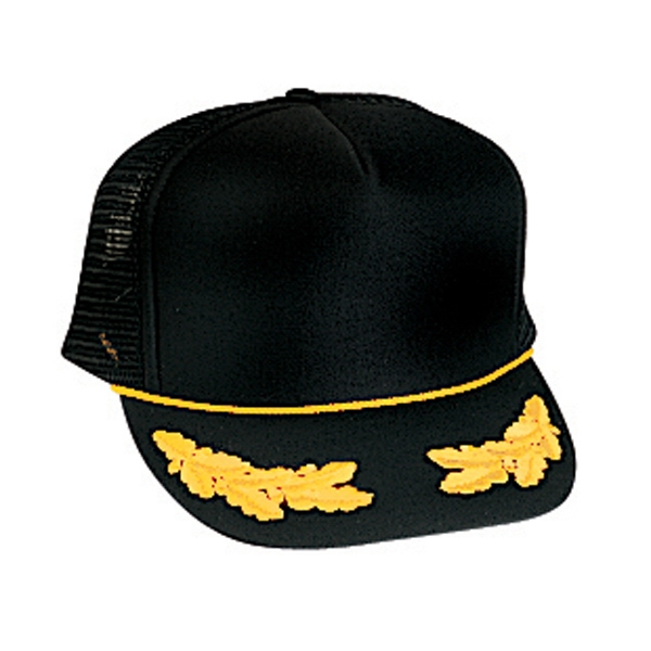 Golf Style Polyester Foam Front Mesh Back Cap With Oak Leaves Emblems. Blank Photo
