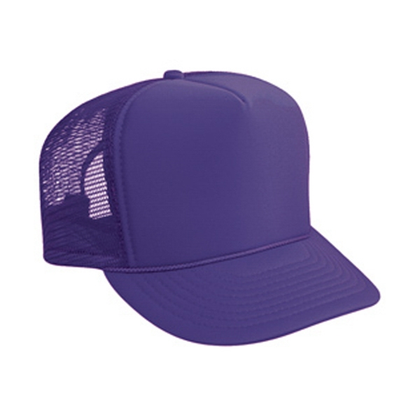Polyester High Crown Golf Style Foam Front Cap With Mesh Back. Blank Photo