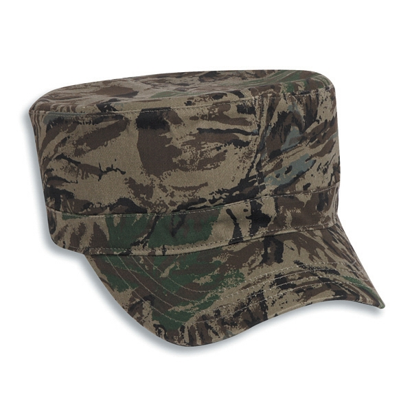 Camouflage Cotton Twill Military Style Cap With Adjustable Hook And Loop. Blank Photo