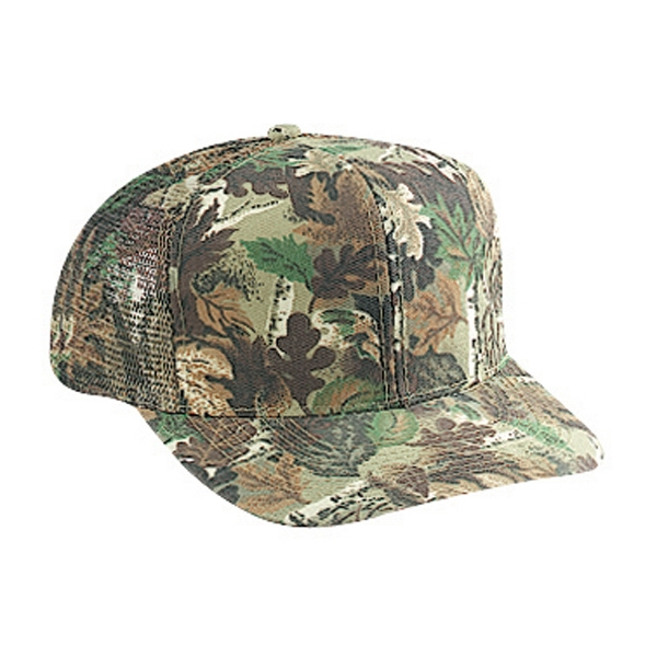 Six Panel Pro Style Camouflage Cap With Mesh Back And Plastic Snap. Blank Photo