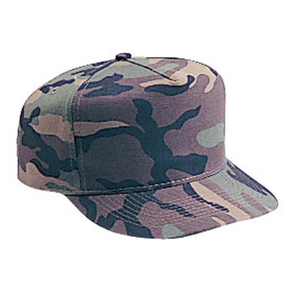 Structured Cotton Twill Camouflage Golf Style Cap With Firm Front Panel. Blank Photo