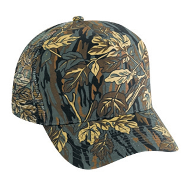Structured Golf Style Camouflage Cap With Low Crown And Mesh Back. Blank Photo