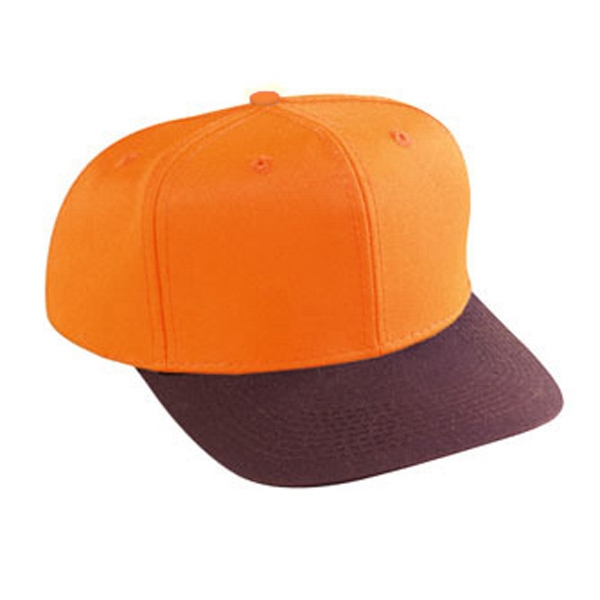 Two Tone Structured Six Panel Neon Cotton Twill Pro Style Cap. Blank Photo