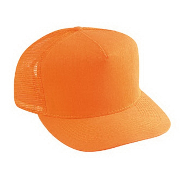 Neon Cotton Twill Five Panel Golf Style Cap With Mesh Back And Low Crown. Blank Photo