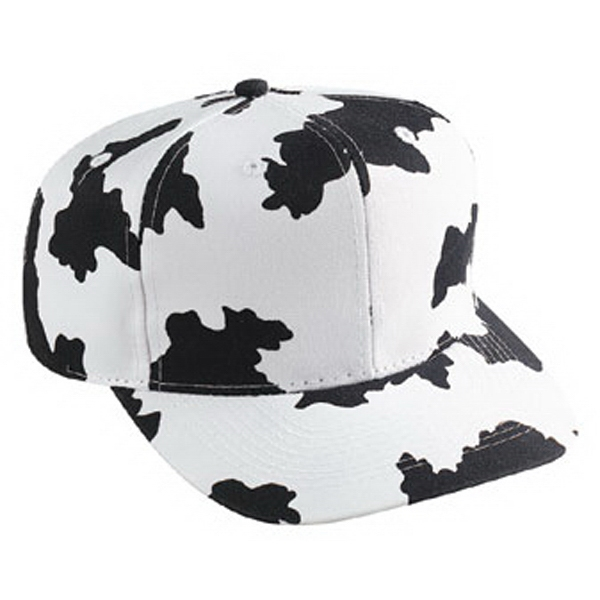 Structured Pro Style Polyester/cotton Twill Cap With Cow Print Pattern. Blank Photo