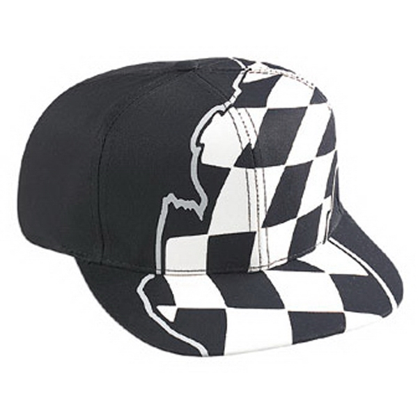 Two Tone Structured Six Panel Pro Style Cap With Racing Flag Pattern. Blank Photo