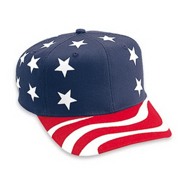 Pro Style Six Panel Cotton Twill Cap With United States Flag Pattern. Blank Photo