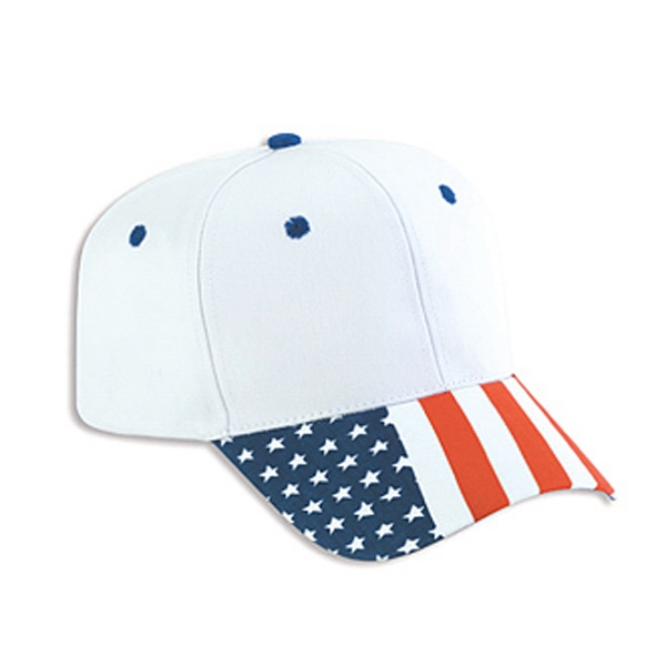 Two Tone Cotton Twill Pro Style Cap With United States Flag Pattern On Visor. Blank Photo